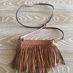REBECCA MINKOFF Mini Tan Fringe Bag Gold Hardware